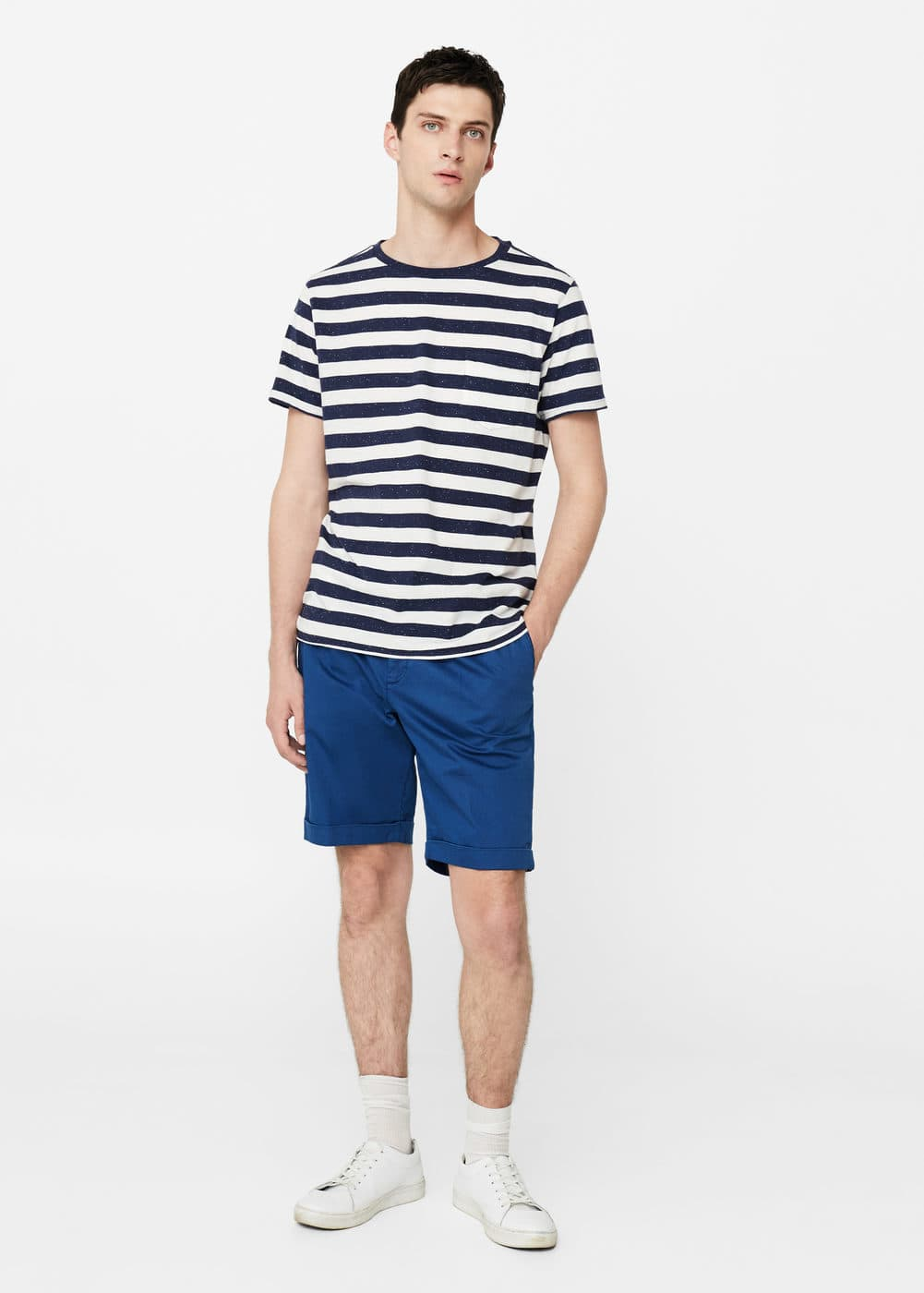 Cotton pleated bermuda shorts | MANGO