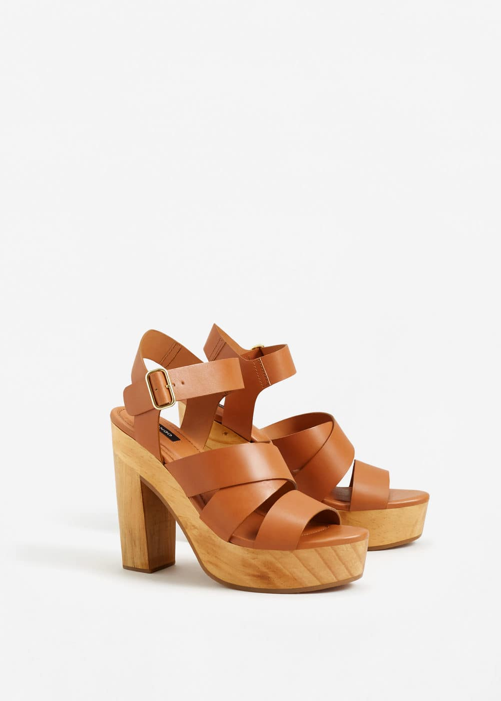 Wooden leather sandals | MNG