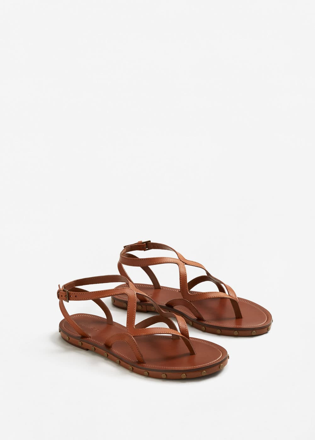 Leather straps sandals | MANGO
