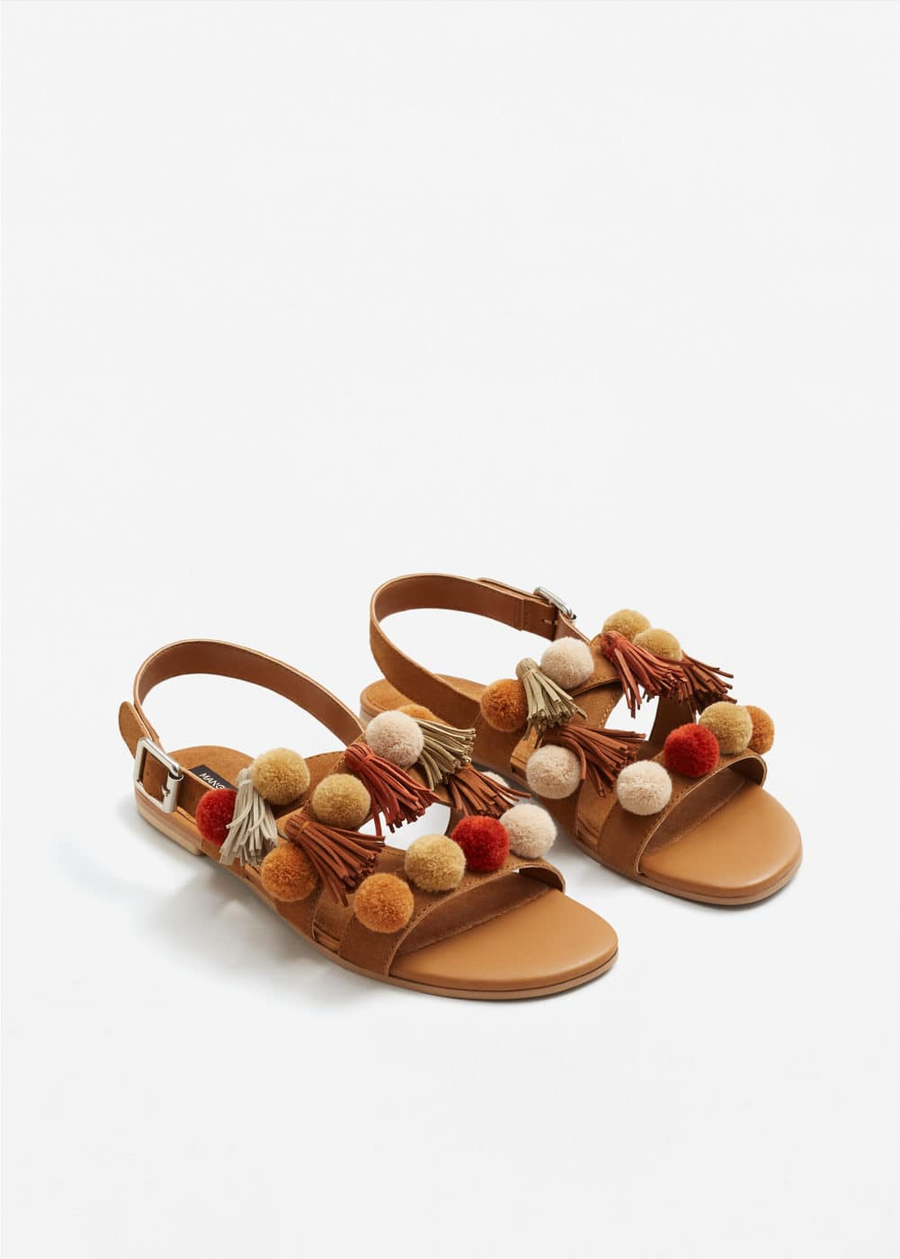 Pompom leather sandals | MANGO