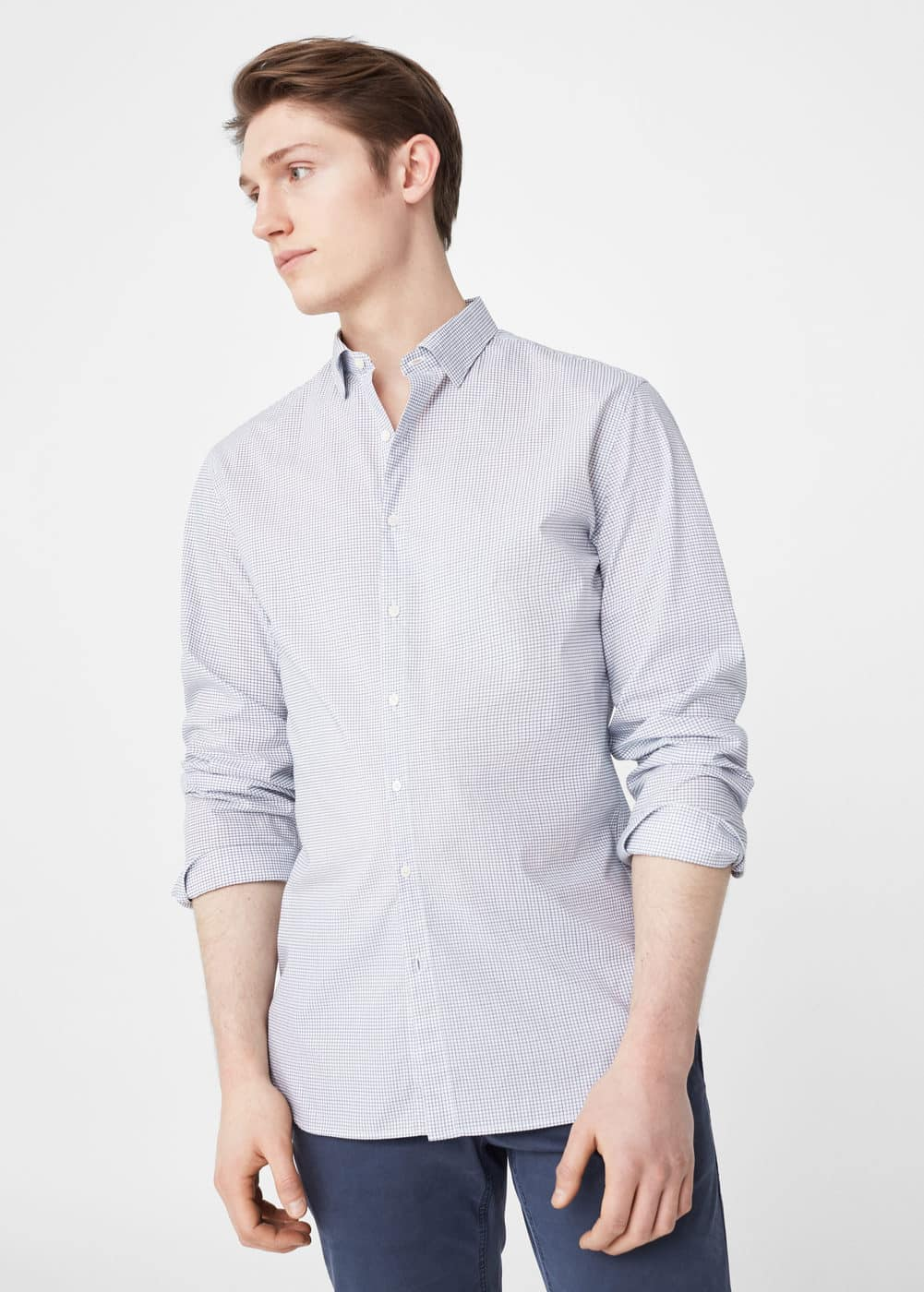 Slim-fit micro check shirt | MANGO
