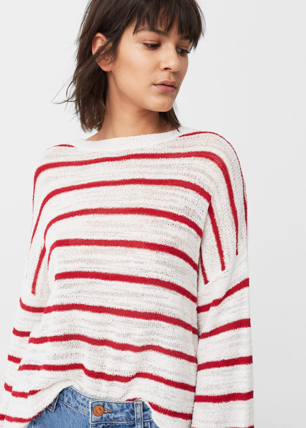Striped cotton-blend sweater | MNG