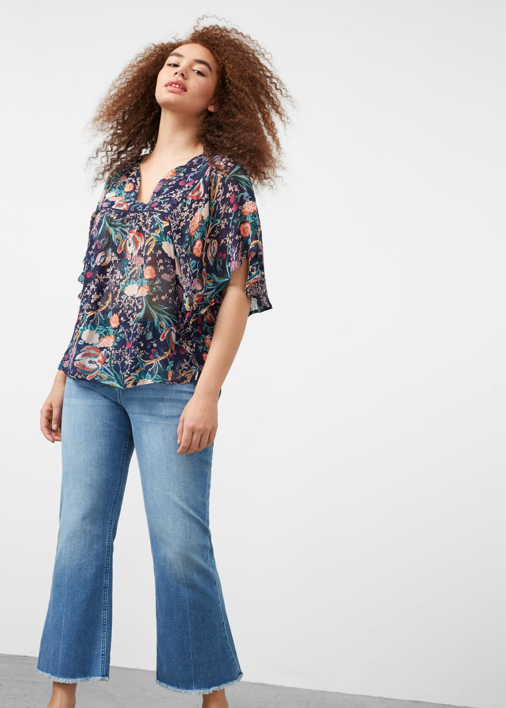 Sheer printed blouse | MANGO