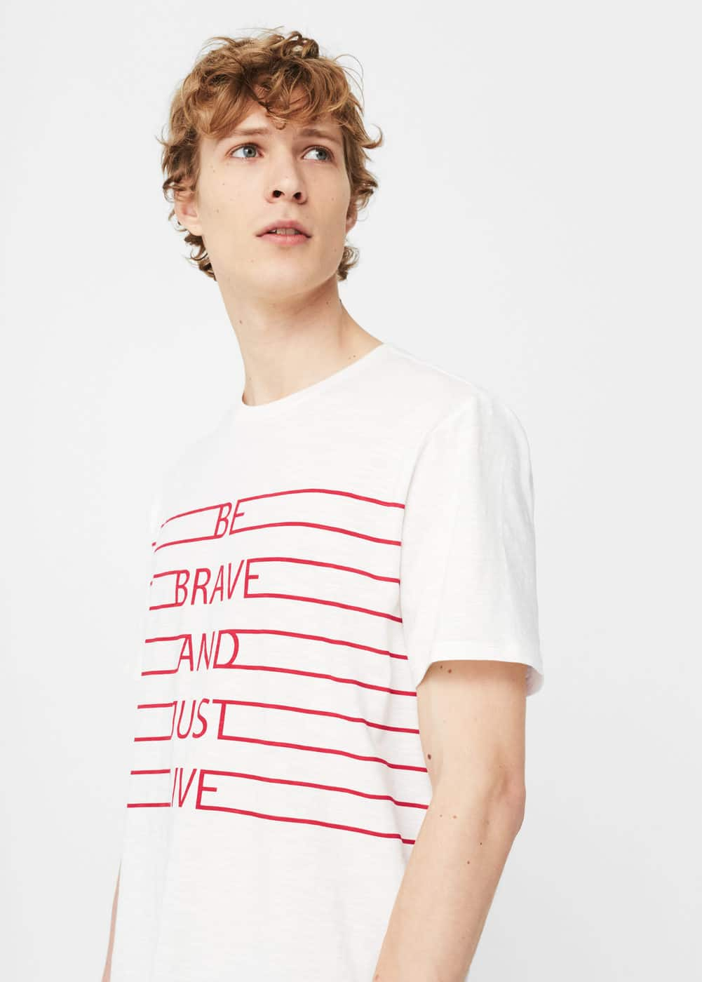 Printed slub-cotton t-shirt | MANGO MAN