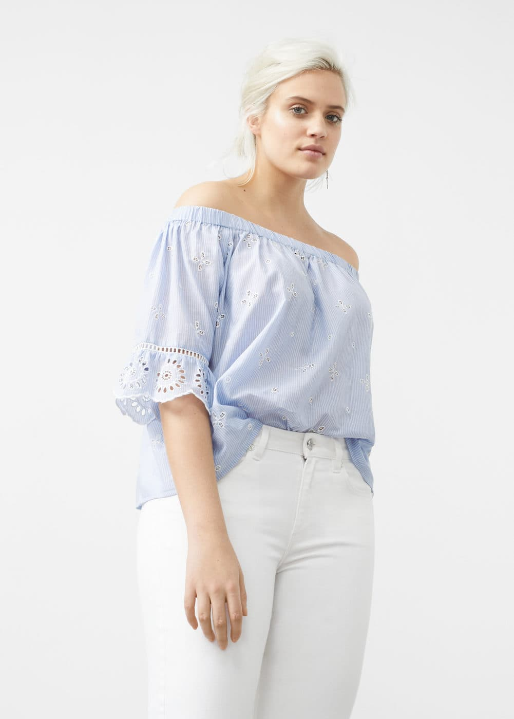 Striped off-shoulder blouse | VIOLETA BY MANGO