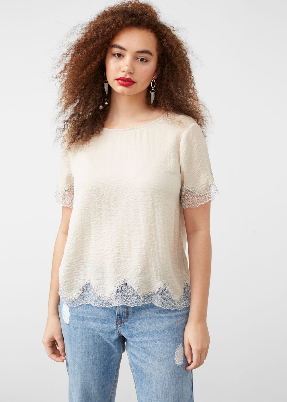 Lace panel blouse | MNG