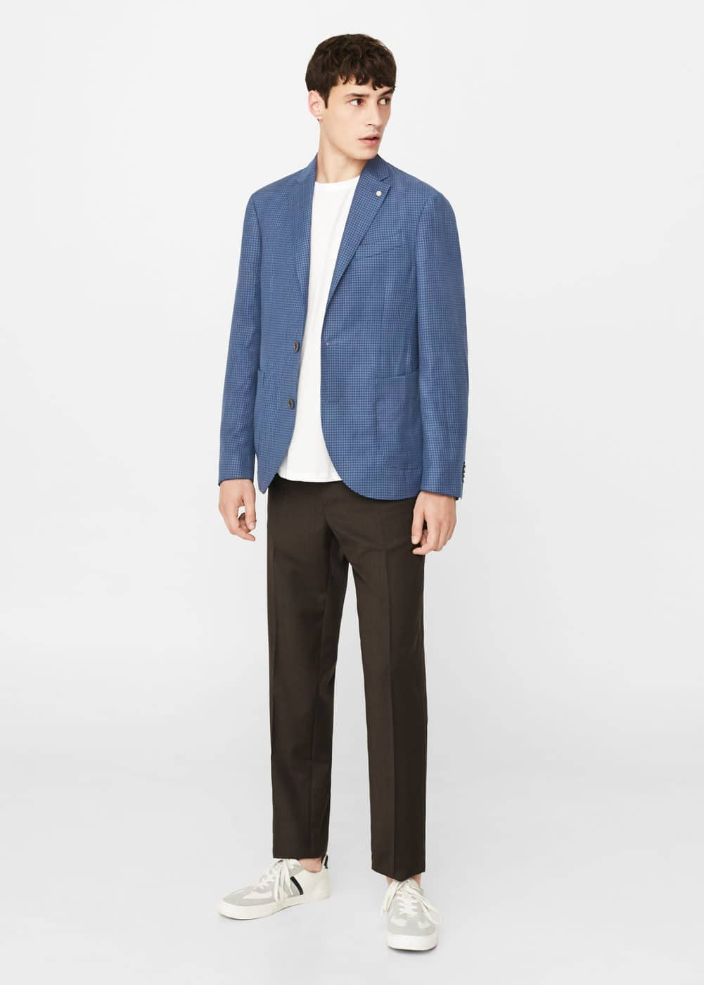 Slim-fit check wool-blend blazer | MANGO
