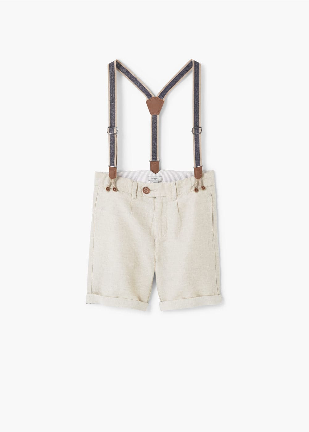 Braces linen-blend bermuda shorts | MANGO KIDS