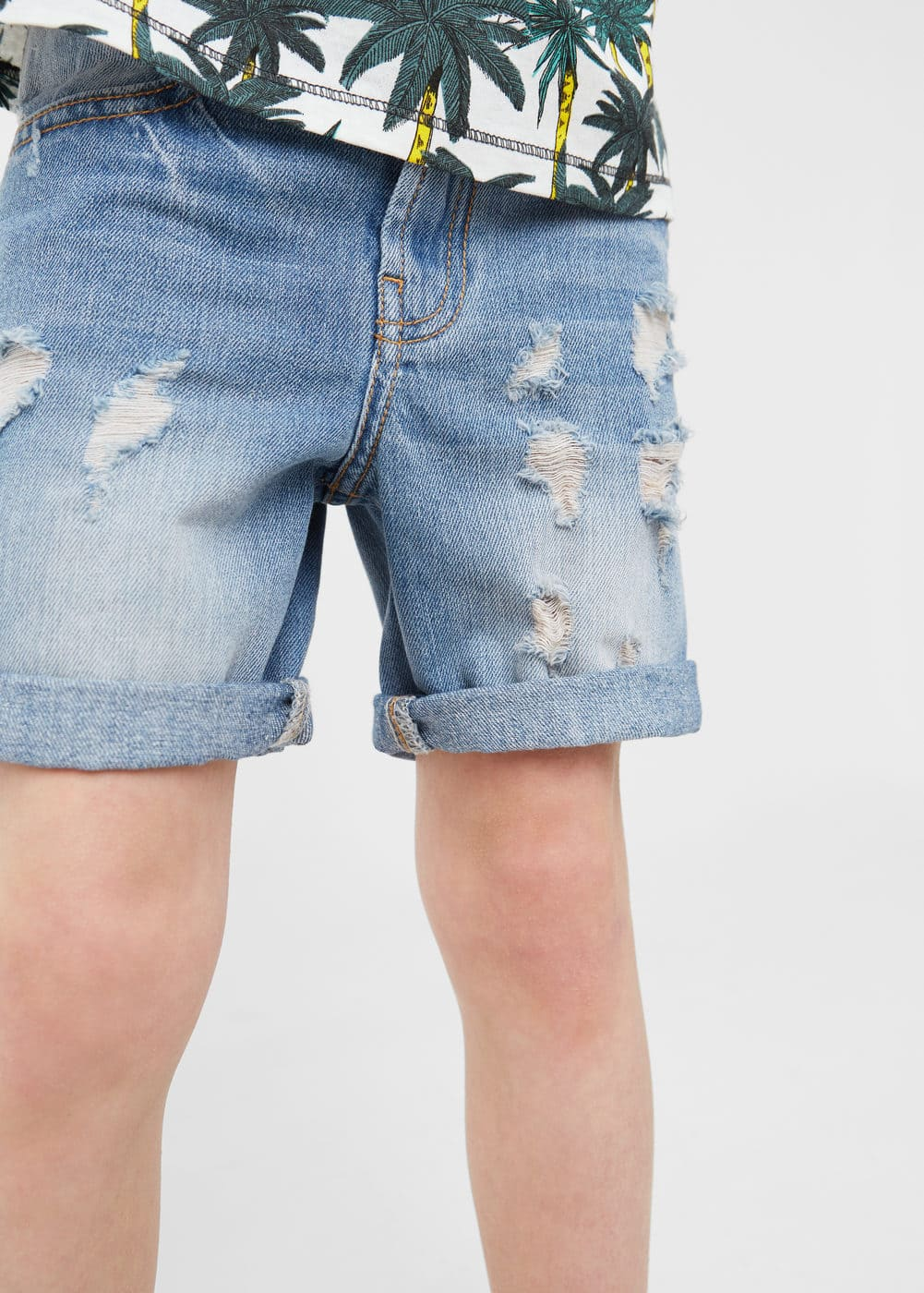 Ripped-detail denim bermuda shorts | MANGO