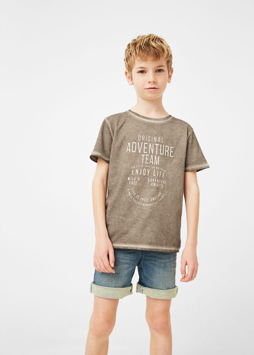 Distressed-effect message t-shirt | MANGO KIDS