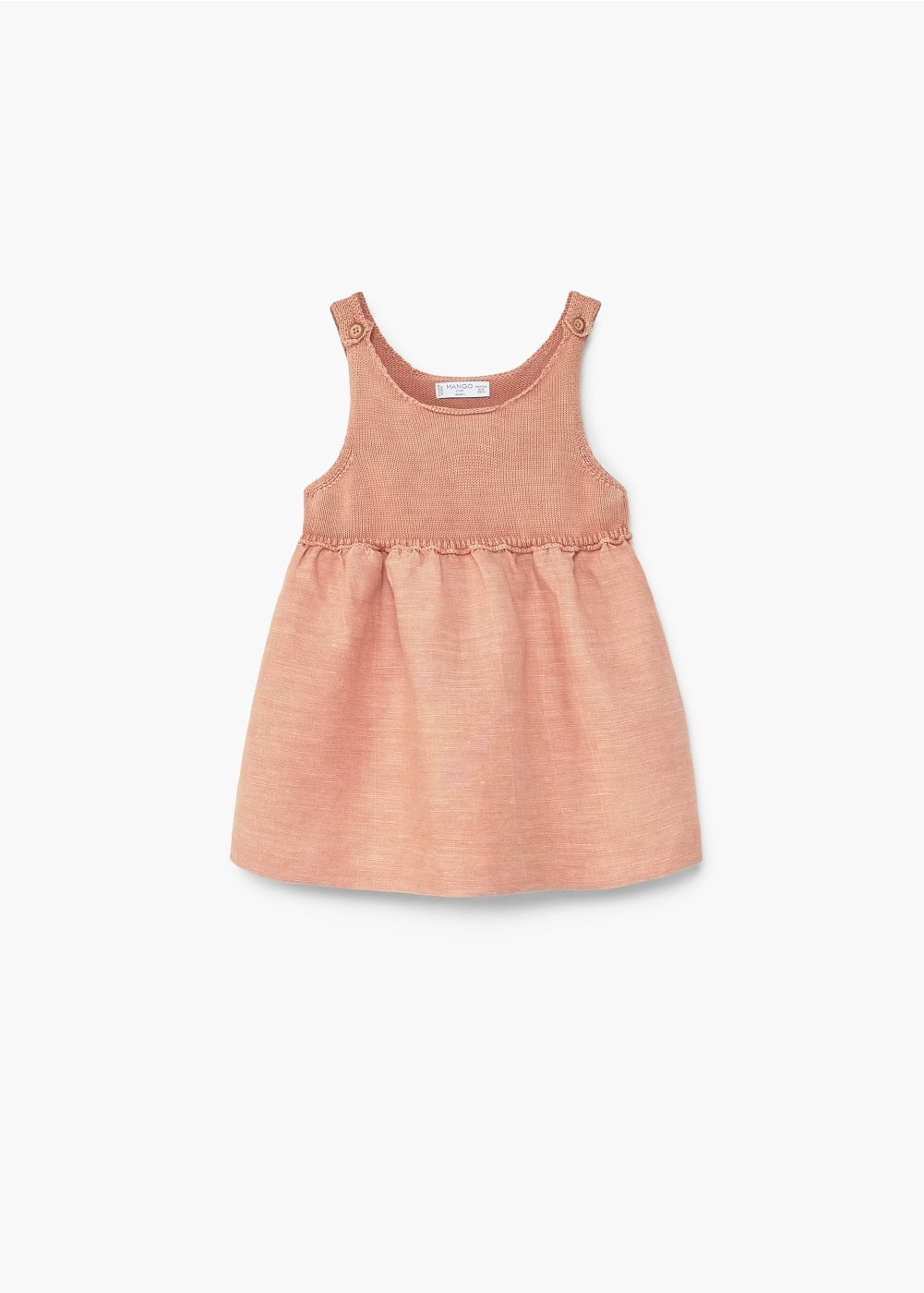 Contrast bodice linen-blend dress | MANGO KIDS