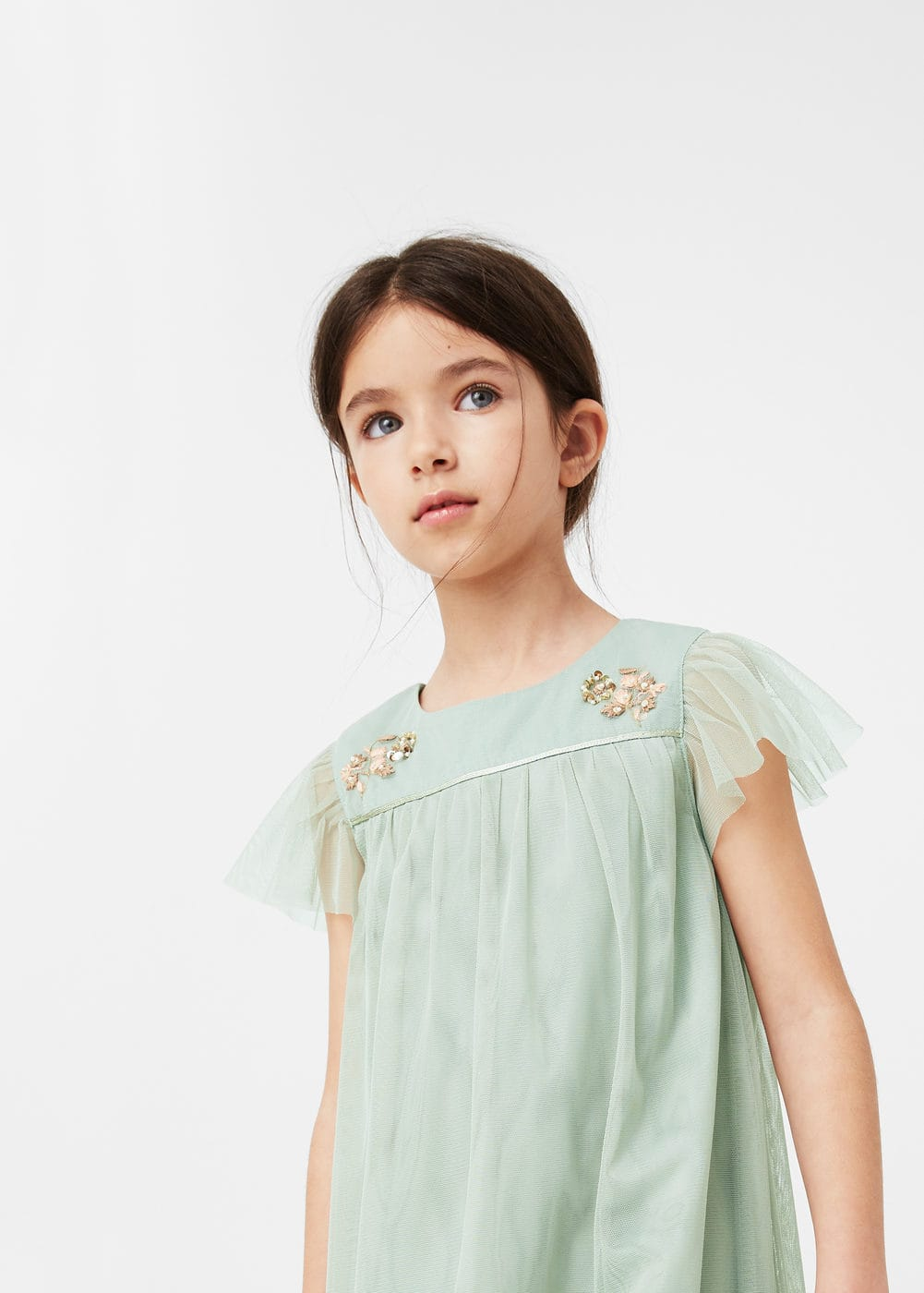 Embroidered tulle dress | MANGO KIDS