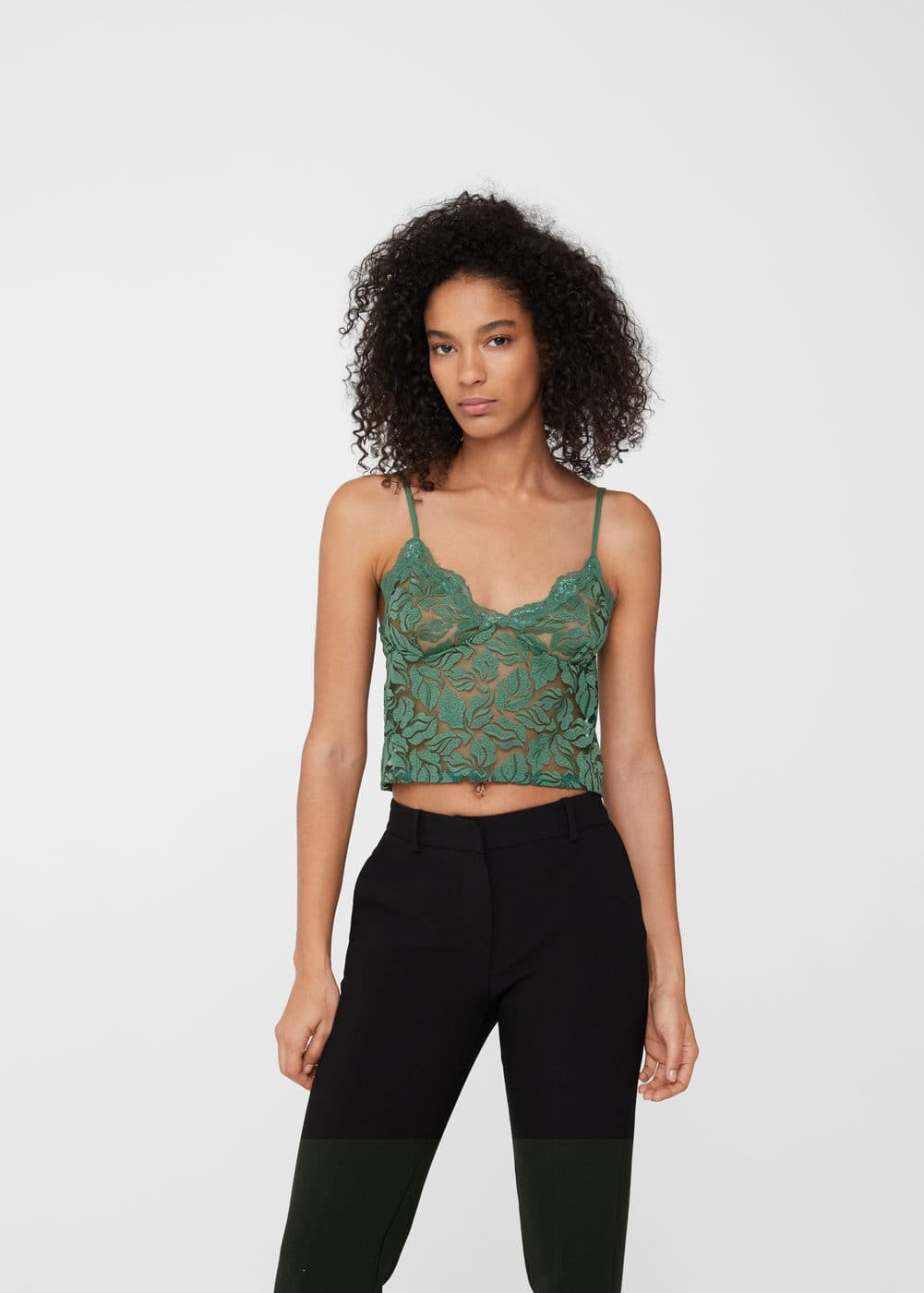 Floral blond lace top | MANGO