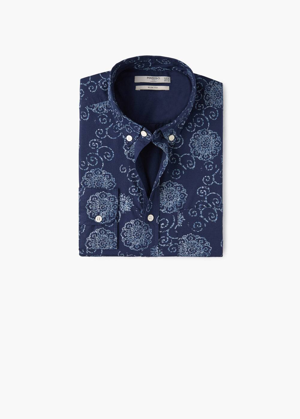 Camisa slim-fit algodón estampada | MANGO MAN