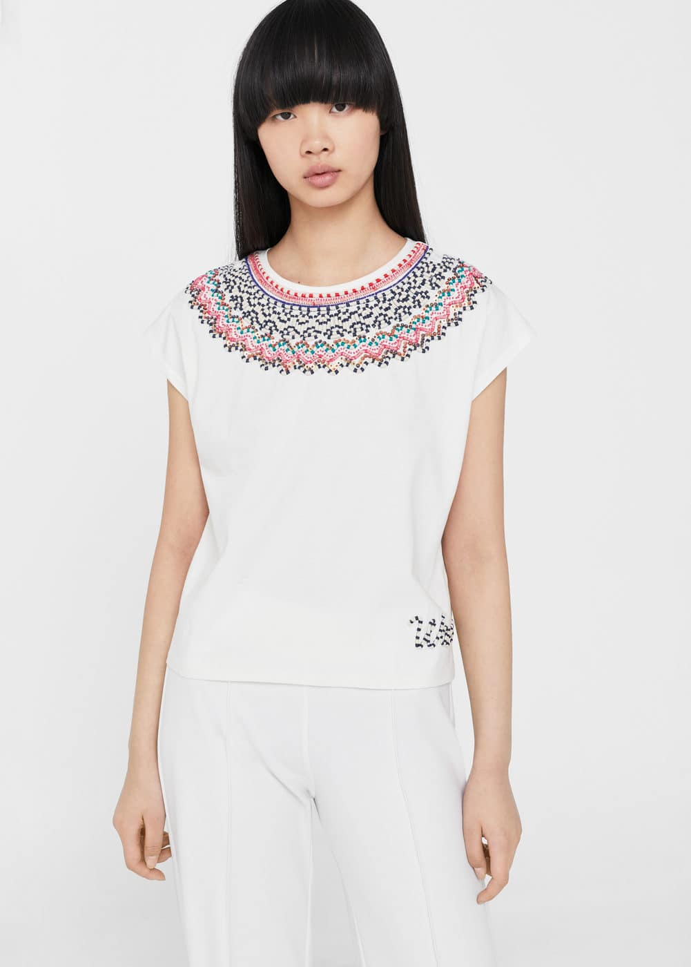 Embroidered panel t-shirt | MANGO