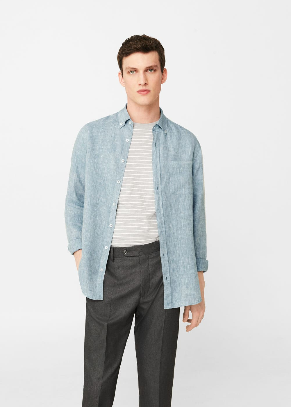 Slim-fit linen shirt | MANGO