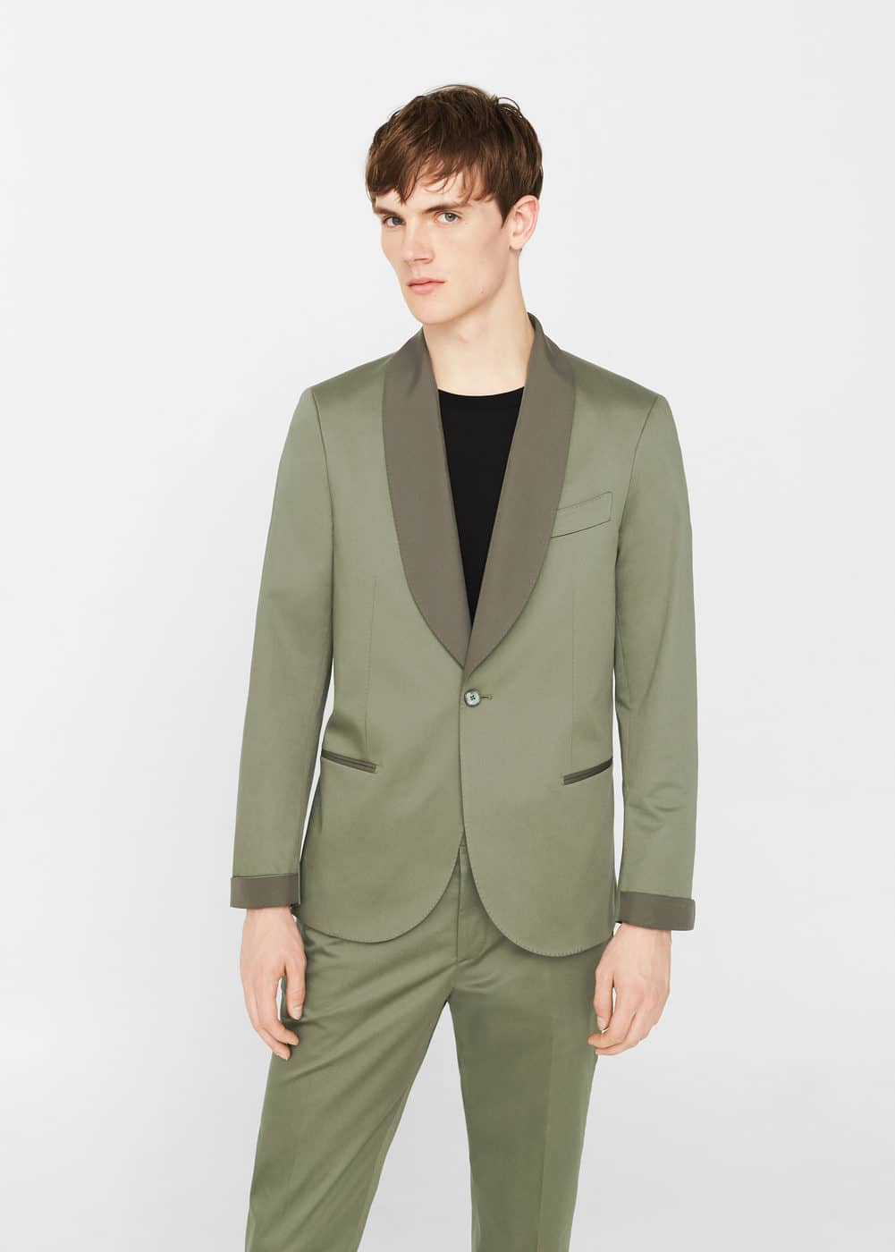 Slim-fit cotton suit blazer | MANGO