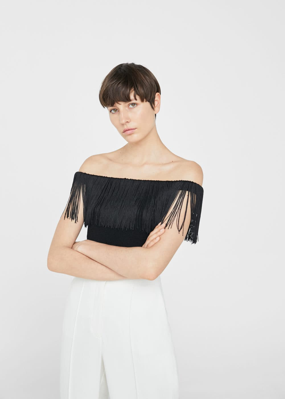 Off-shoulder top mit fransen | MANGO