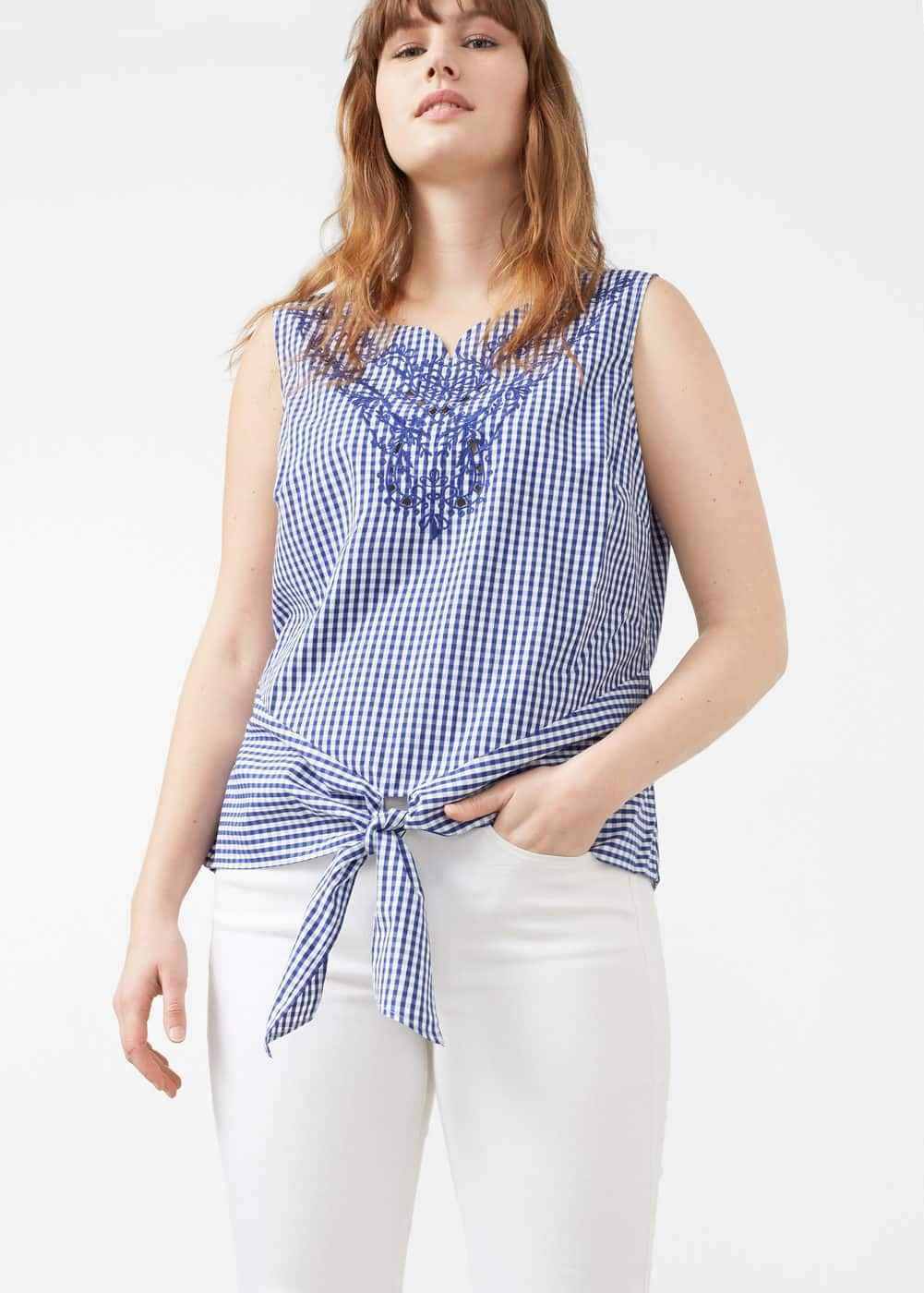 Knot detail check blouse | VIOLETA BY MNG