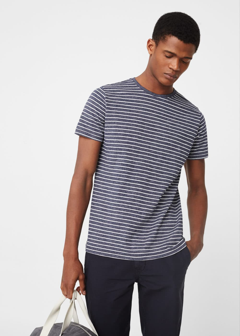Striped cotton t-shirt | MANGO MAN