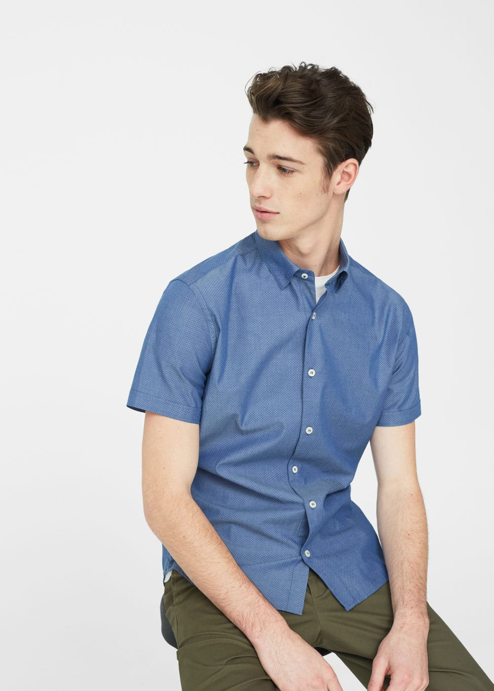 Camisa slim-fit textura | MANGO MAN