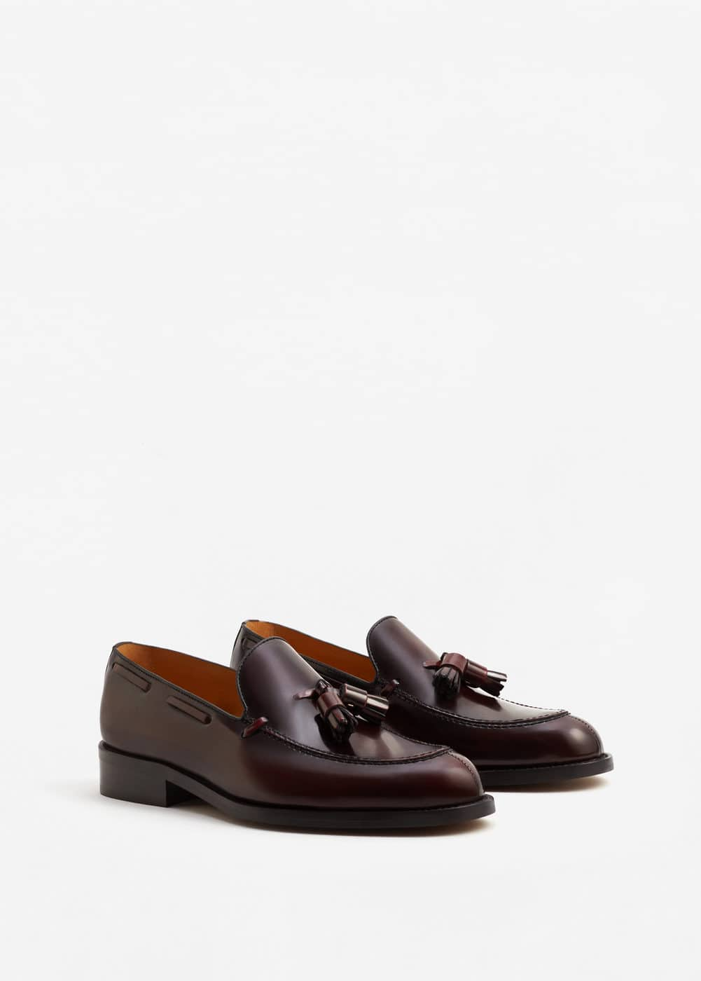 Leather loafers with tassels | MANGO MAN