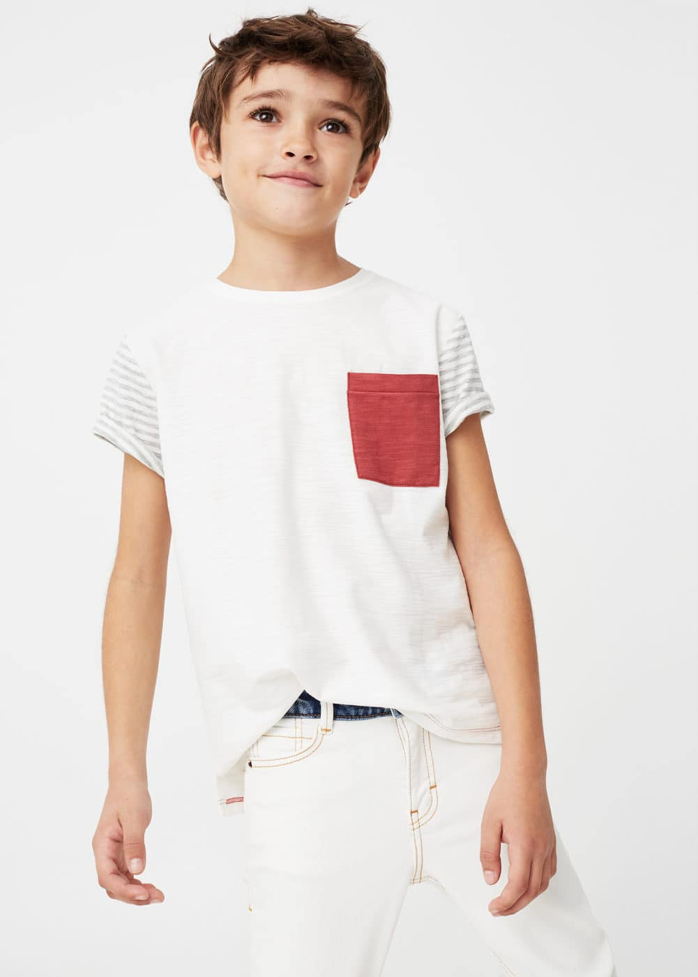 Flecked striped t-shirt | MANGO KIDS