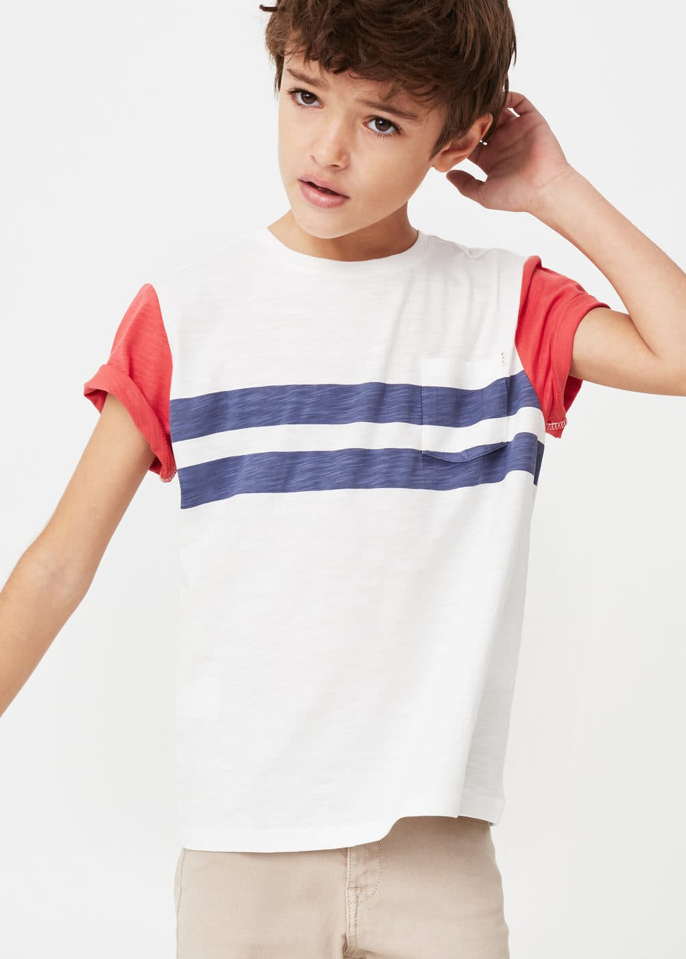 Printed slub-cotton t-shirt | MANGO