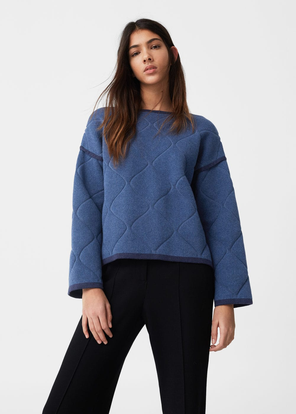 Trimmed cotton-blend sweater | MANGO