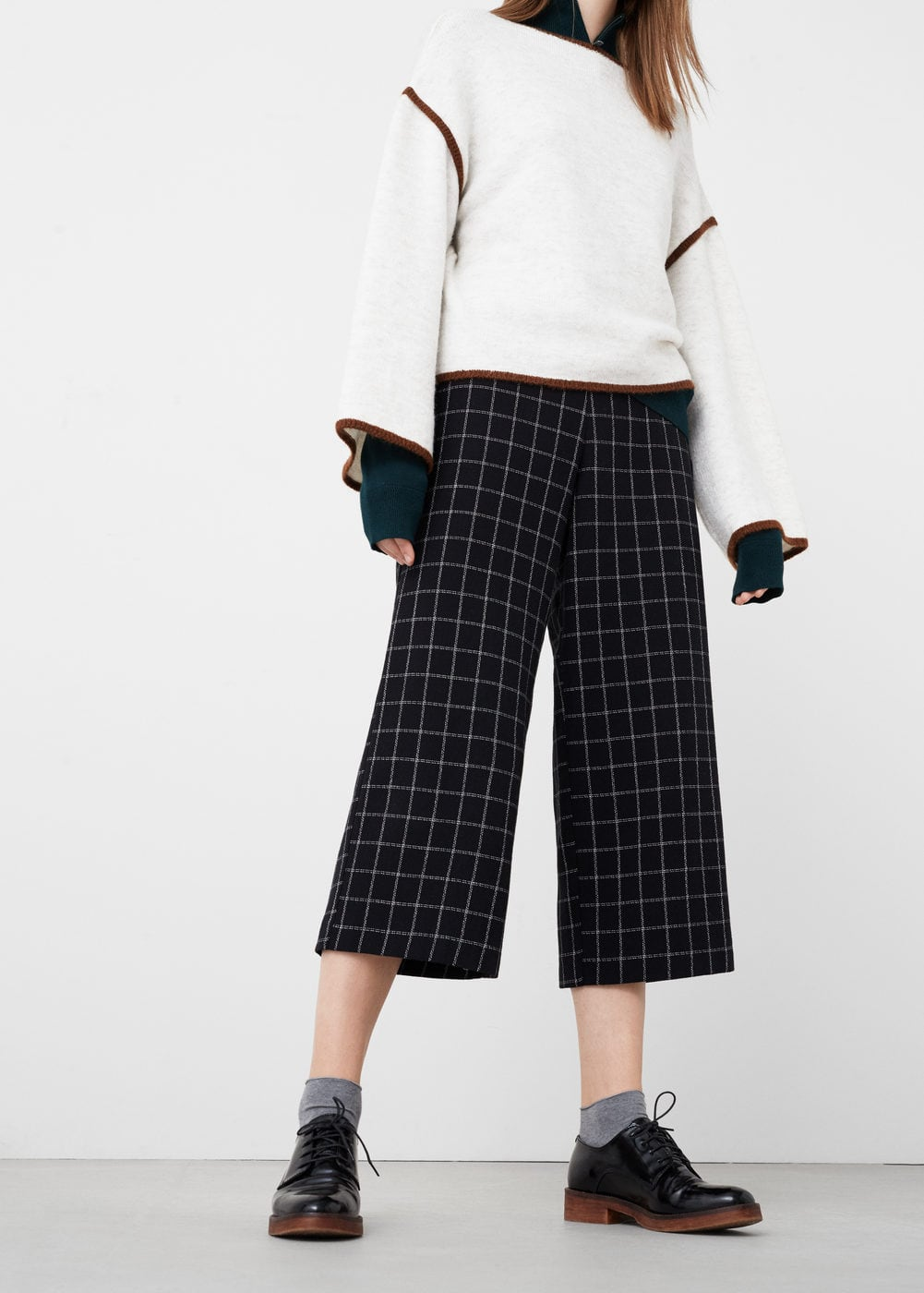 Check crop trousers | MANGO