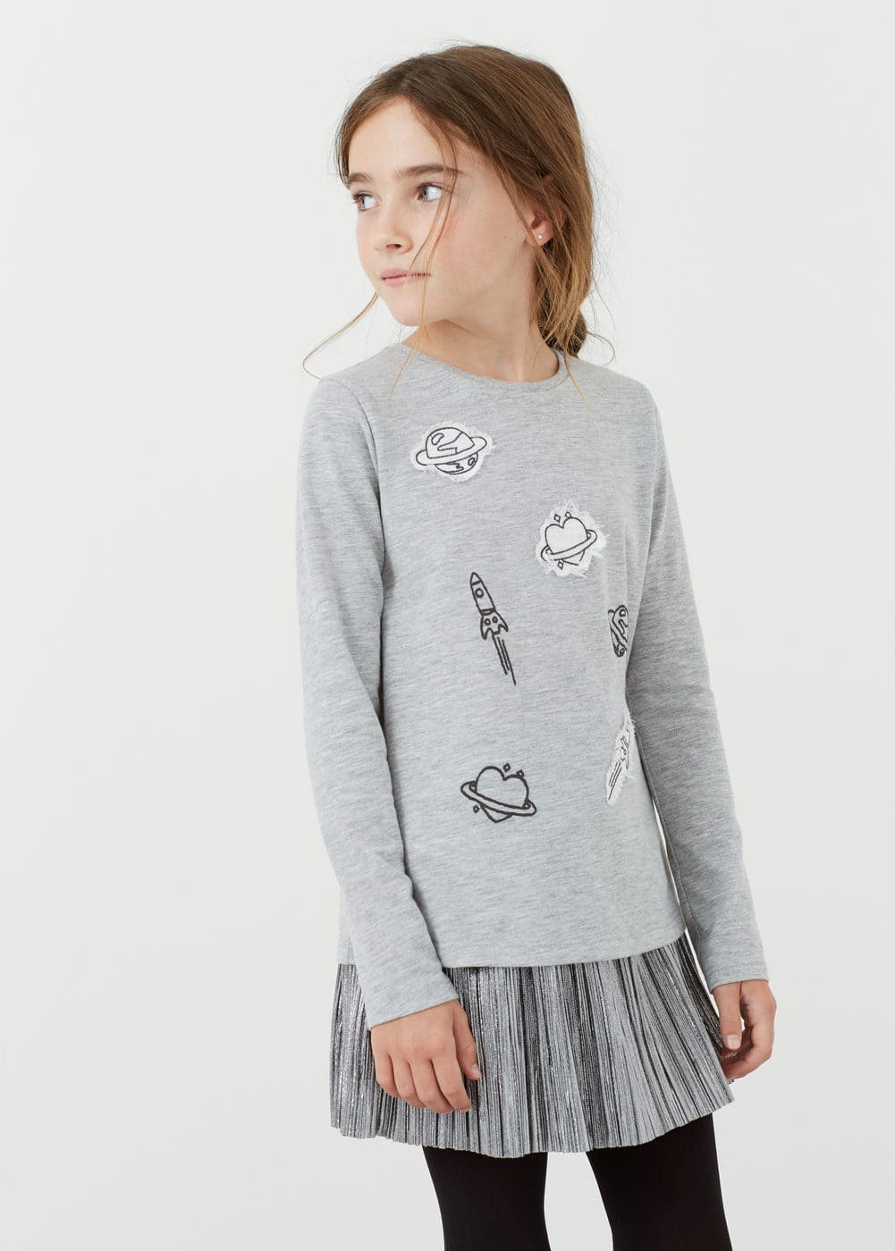 Decorative embroidery t-shirt | MANGO KIDS