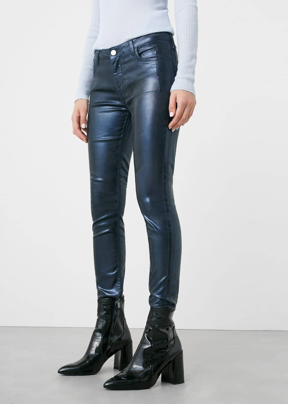 Metallic-effect skinny gloss jeans | MANGO