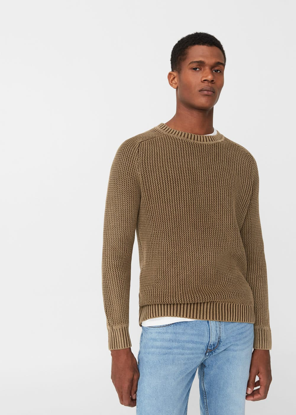 Reverse-knit cotton sweater | MANGO MAN