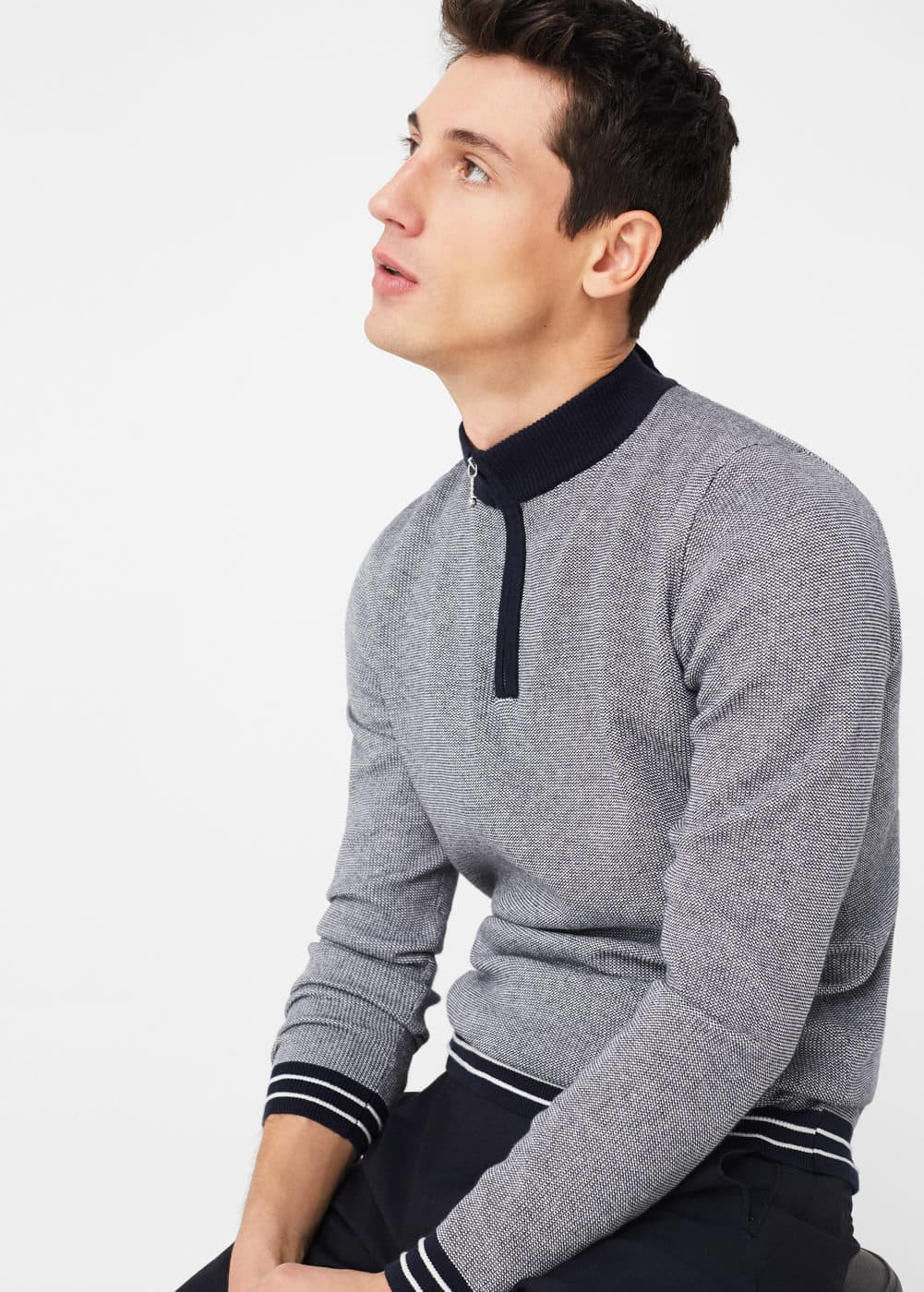 Zip cotton sweater | MANGO MAN
