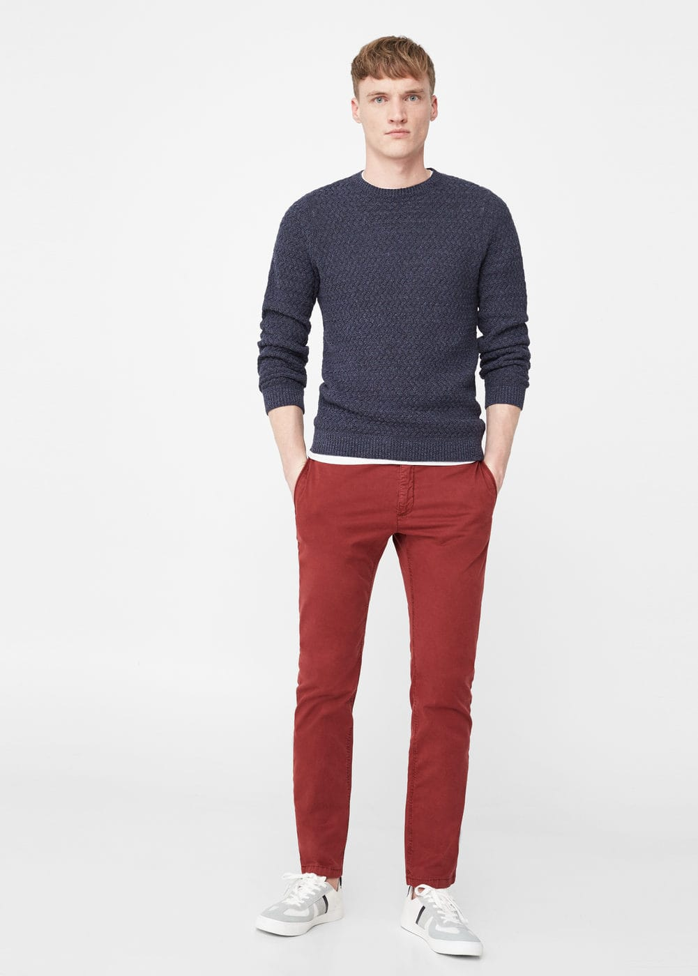 Textured cotton sweater | MANGO MAN