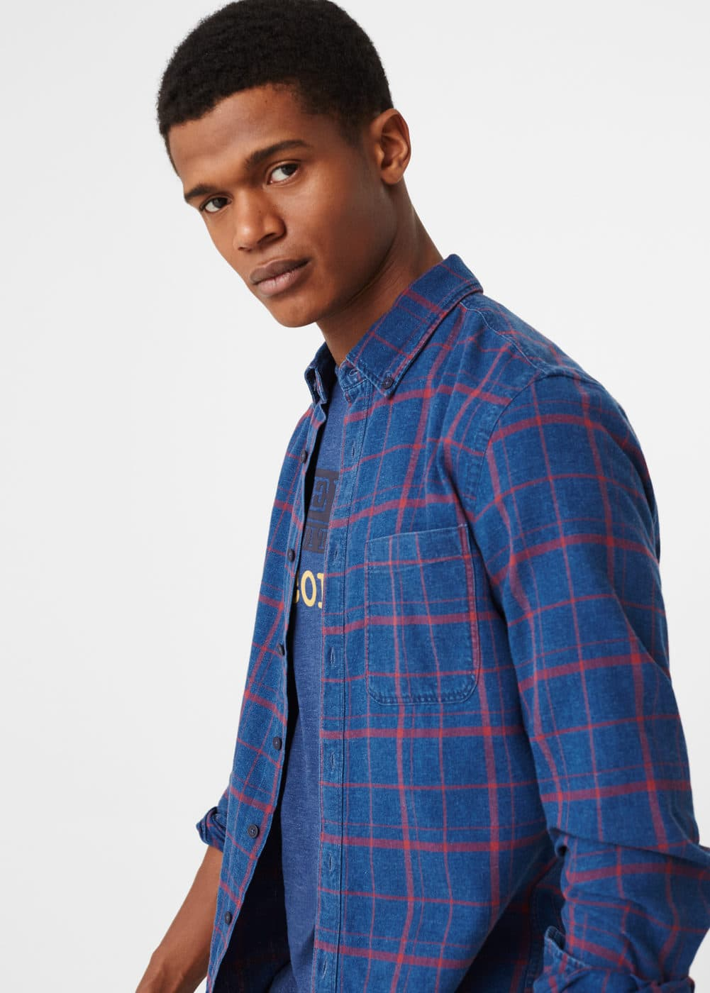 Check chambray shirt | MANGO