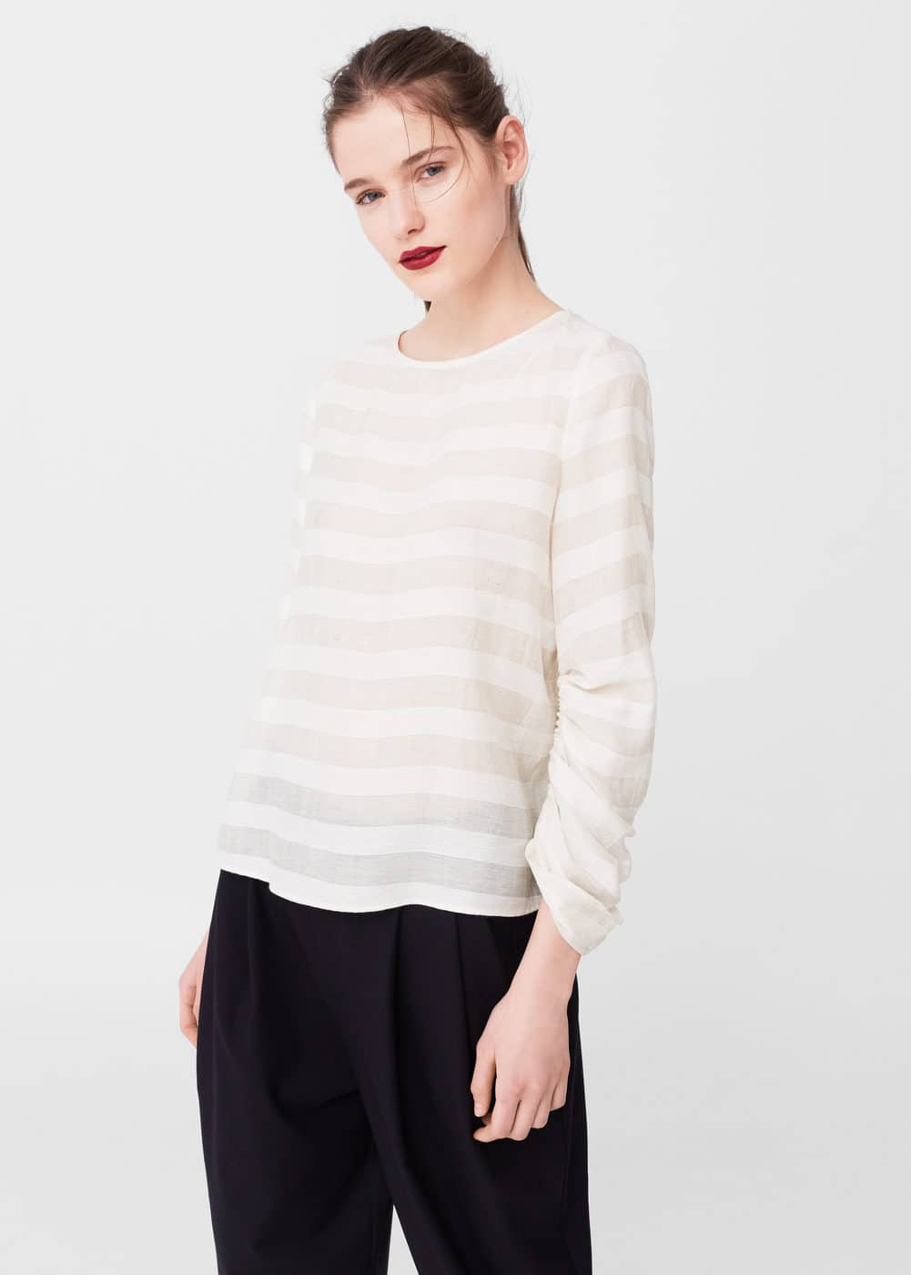 Semitransparent linen-blend blouse | MANGO