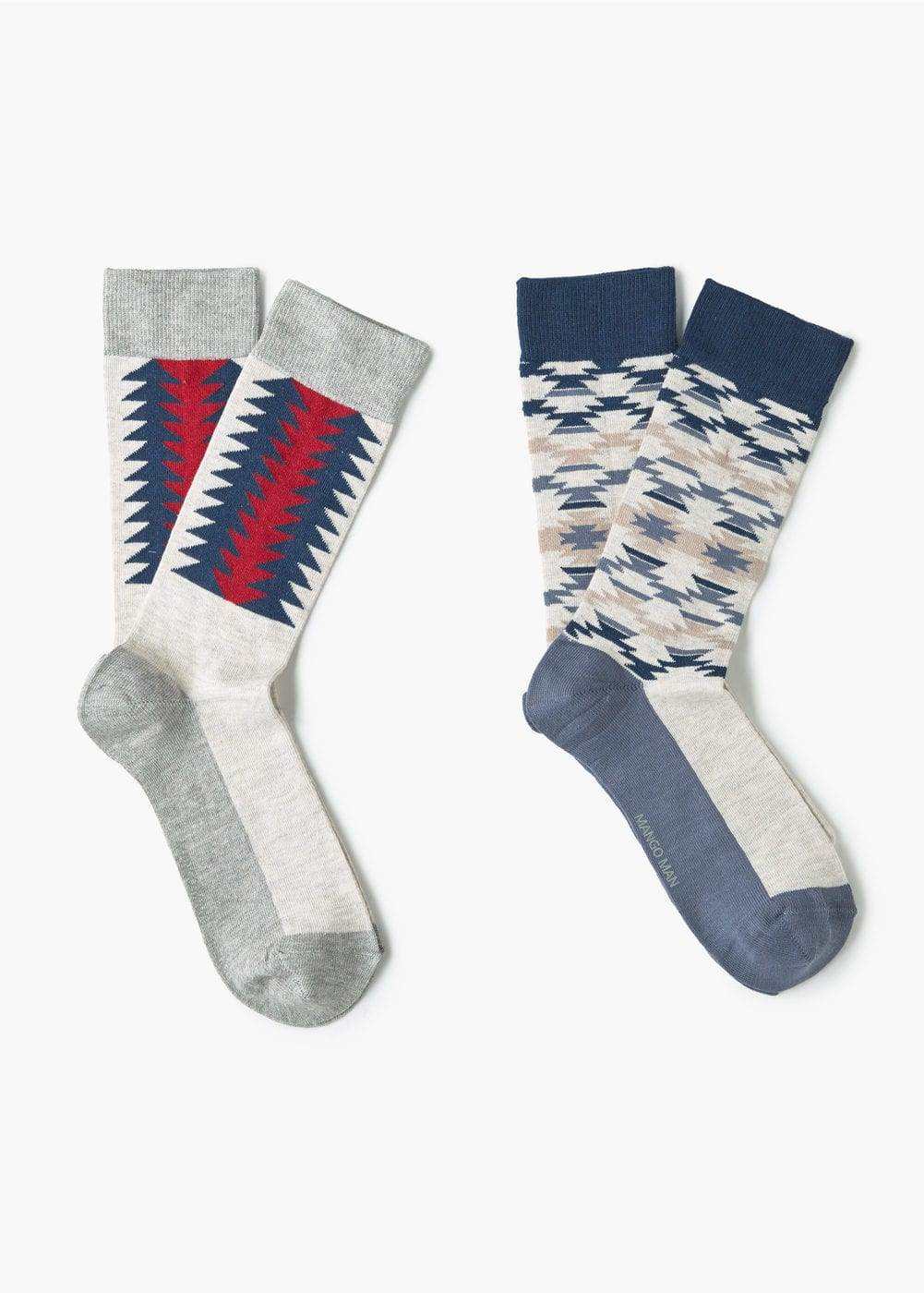 2 pack ikat-print socks | MANGO MAN