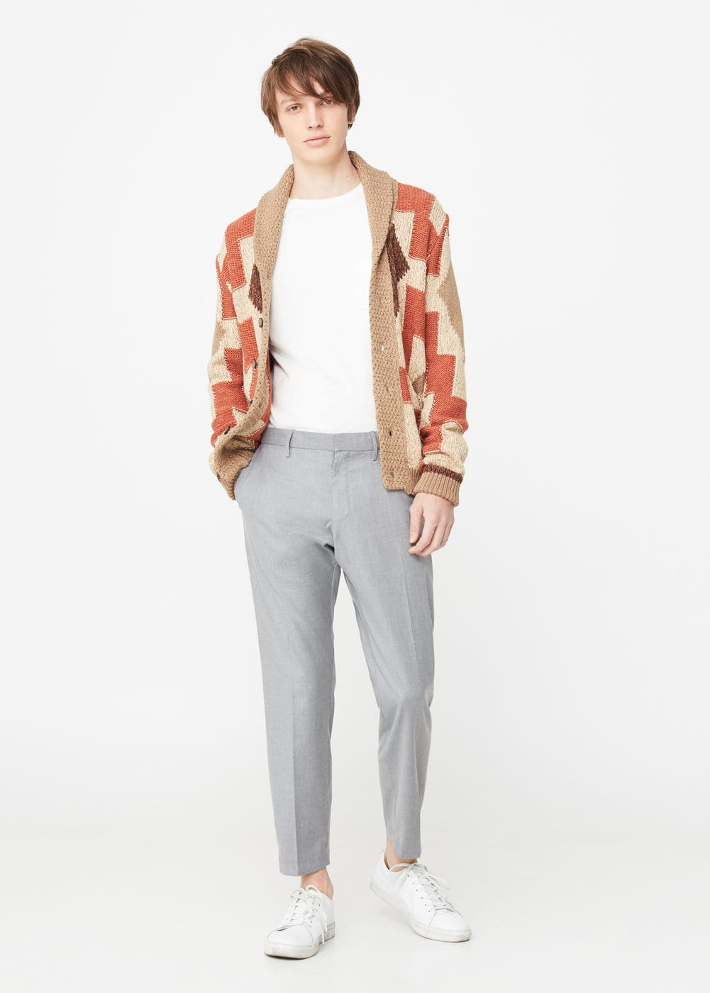 Patterned crop chinos | MANGO MAN