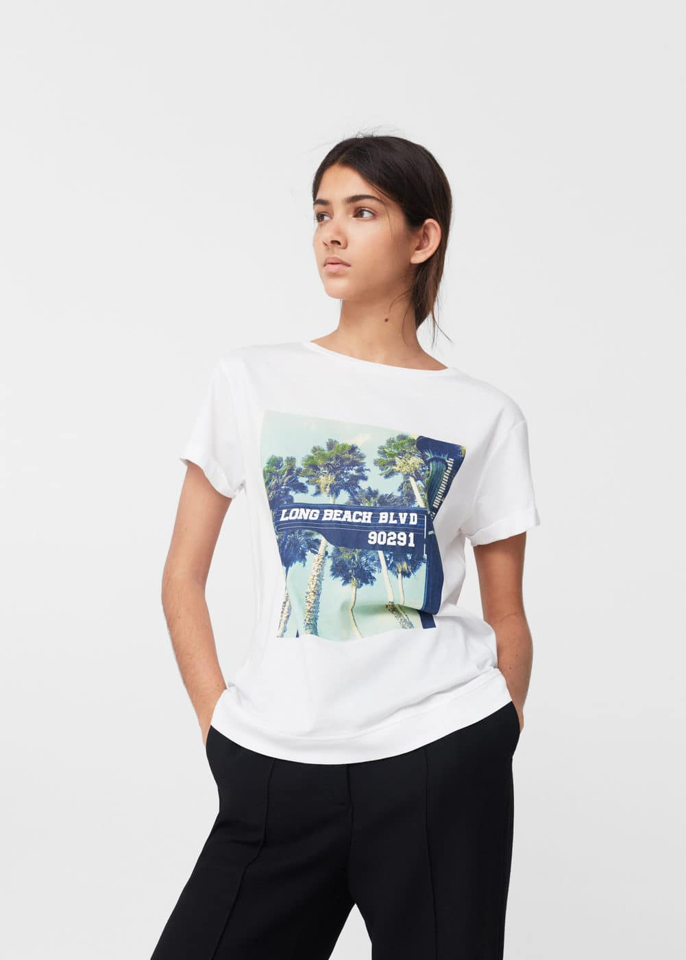Printed cotton t-shirt | MANGO