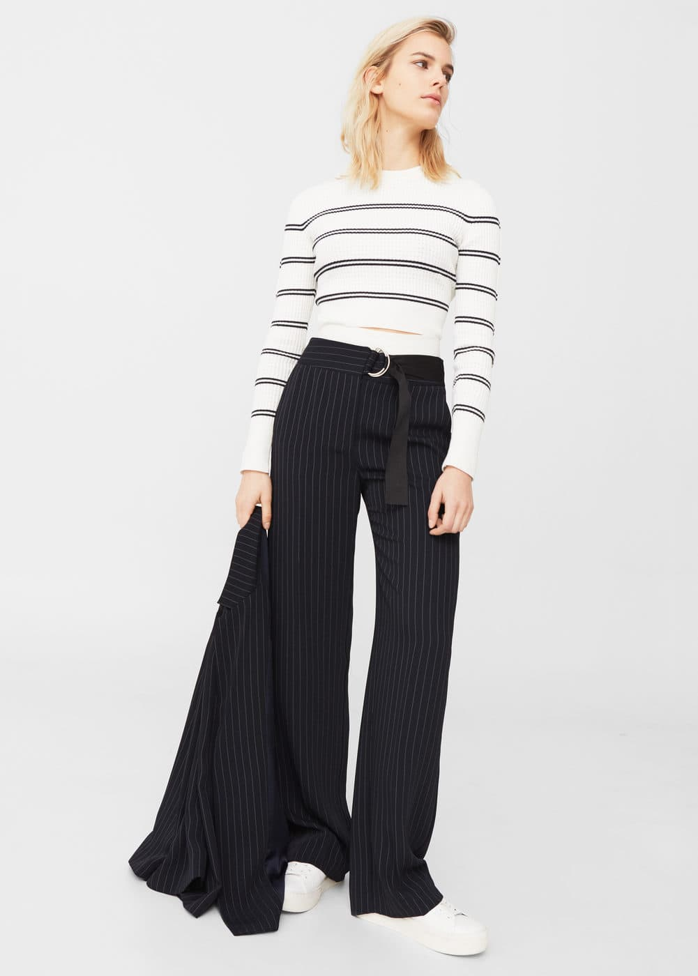 Cropped ribbed sweater | MANGO