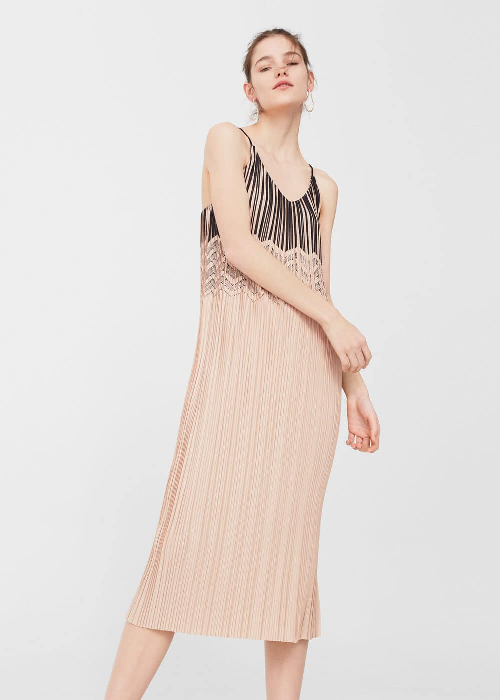 Pleated bicolor dress | MANGO