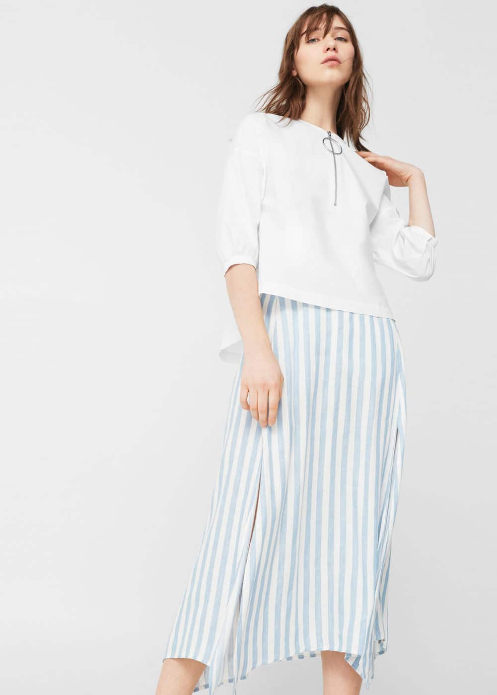 Zipped poplin blouse | MANGO