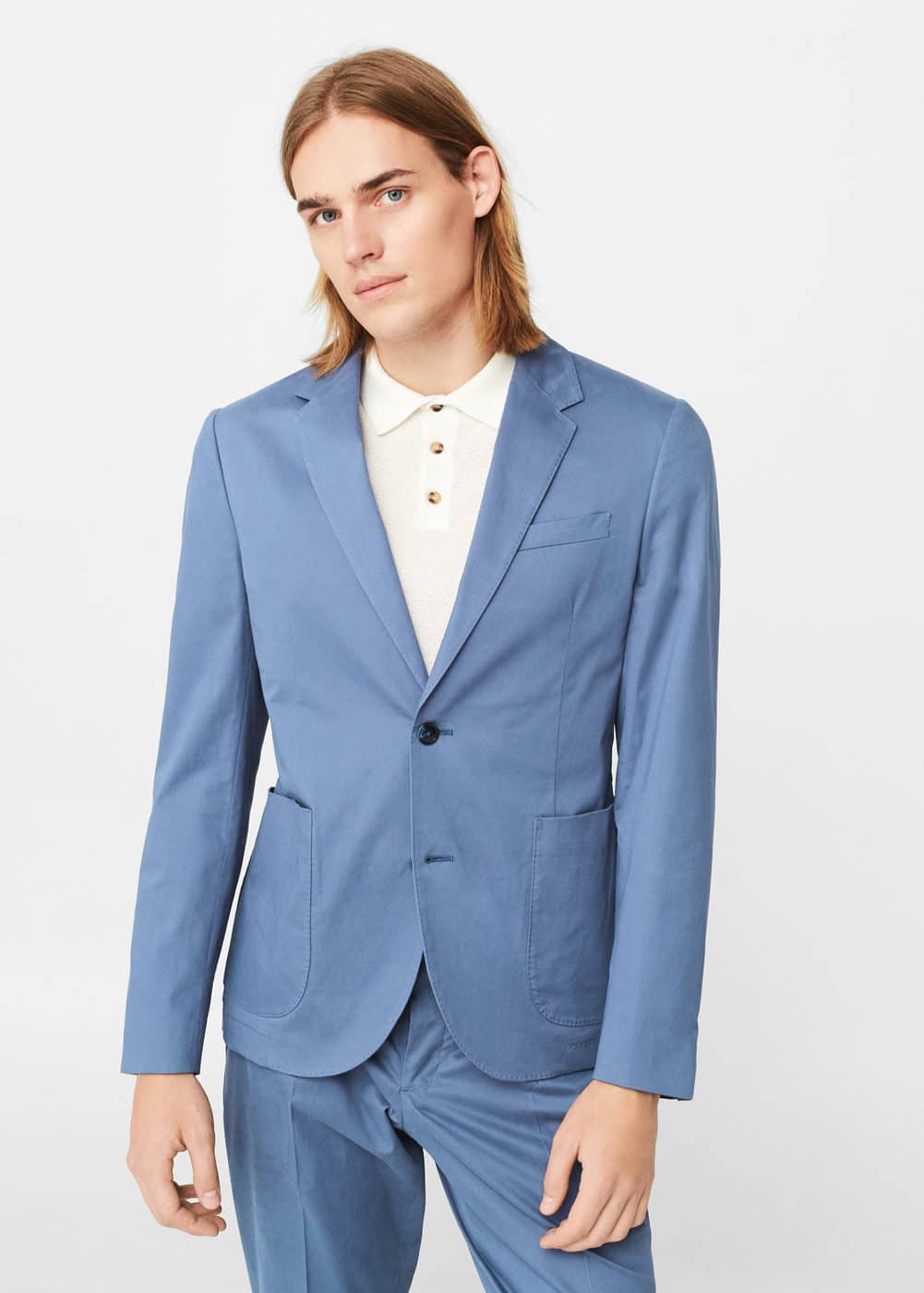 Slim-fit cotton suit blazer | MANGO MAN