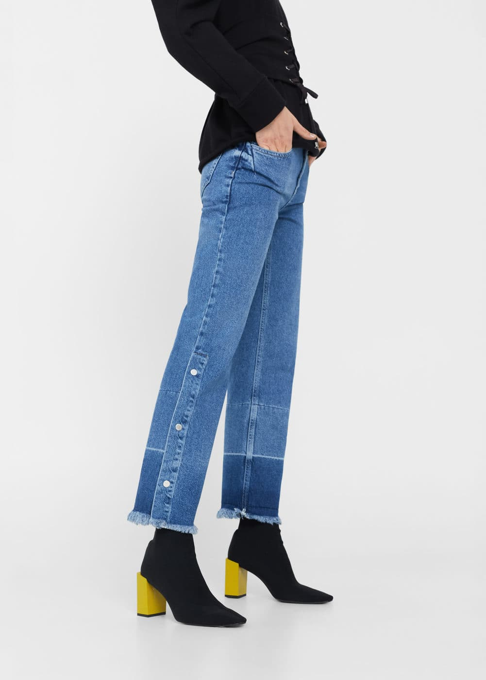 Flare snaps jeans | MANGO