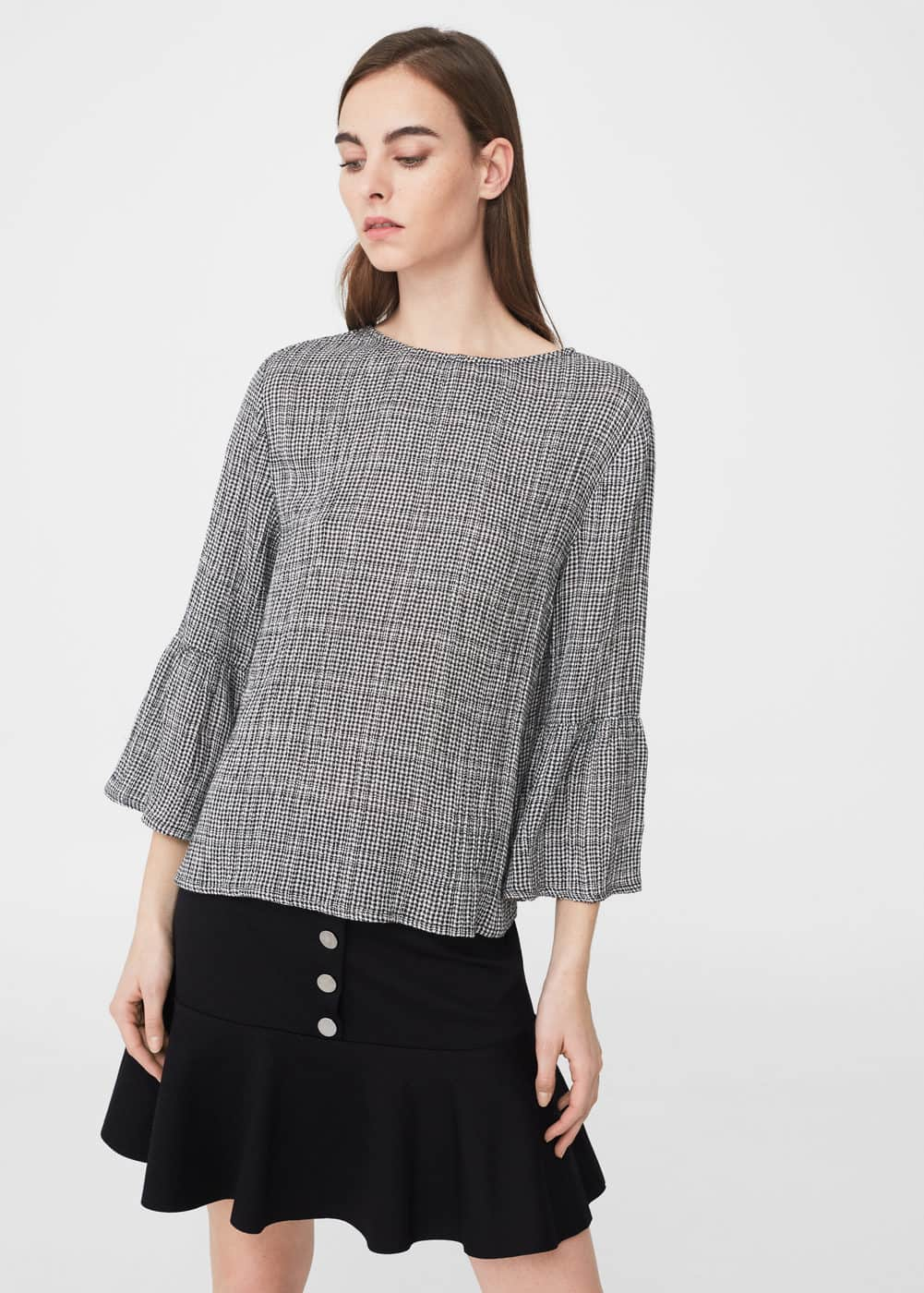Check cotton blouse | MANGO