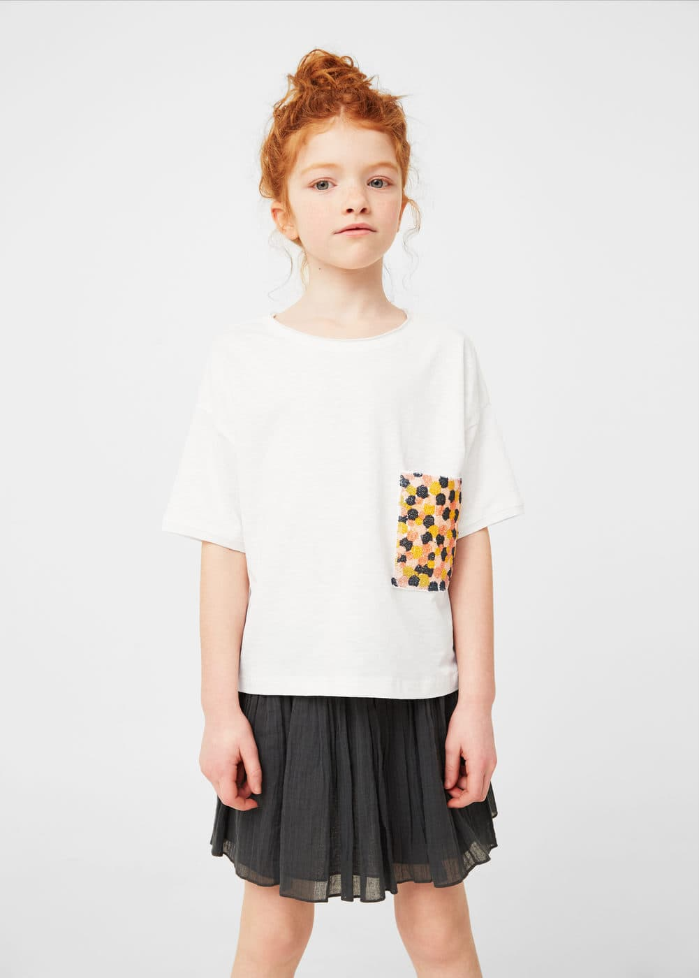 Contrast chest-pocket t-shirt | MANGO KIDS