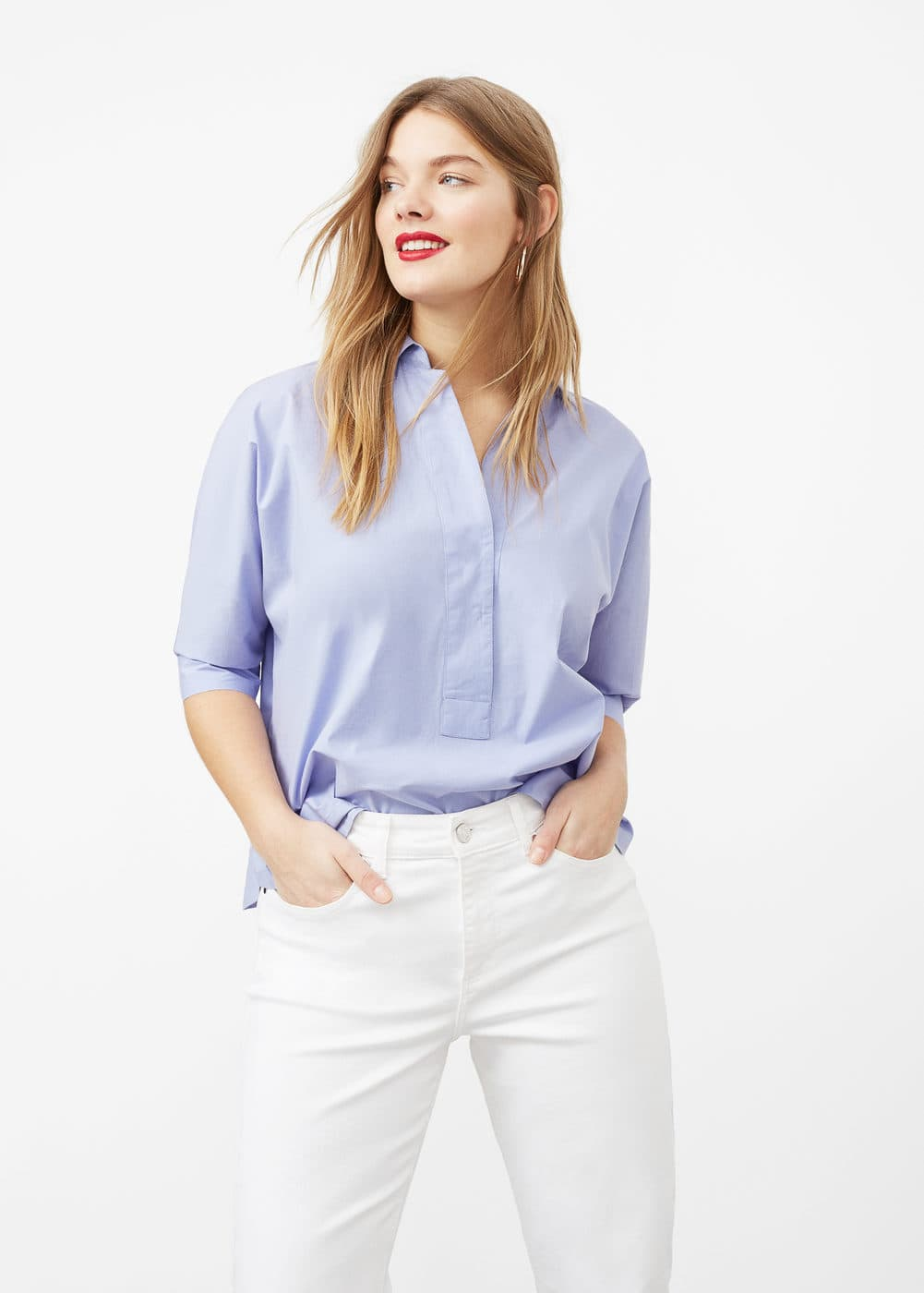 Flared cotton shirt | VIOLETA BY MNG