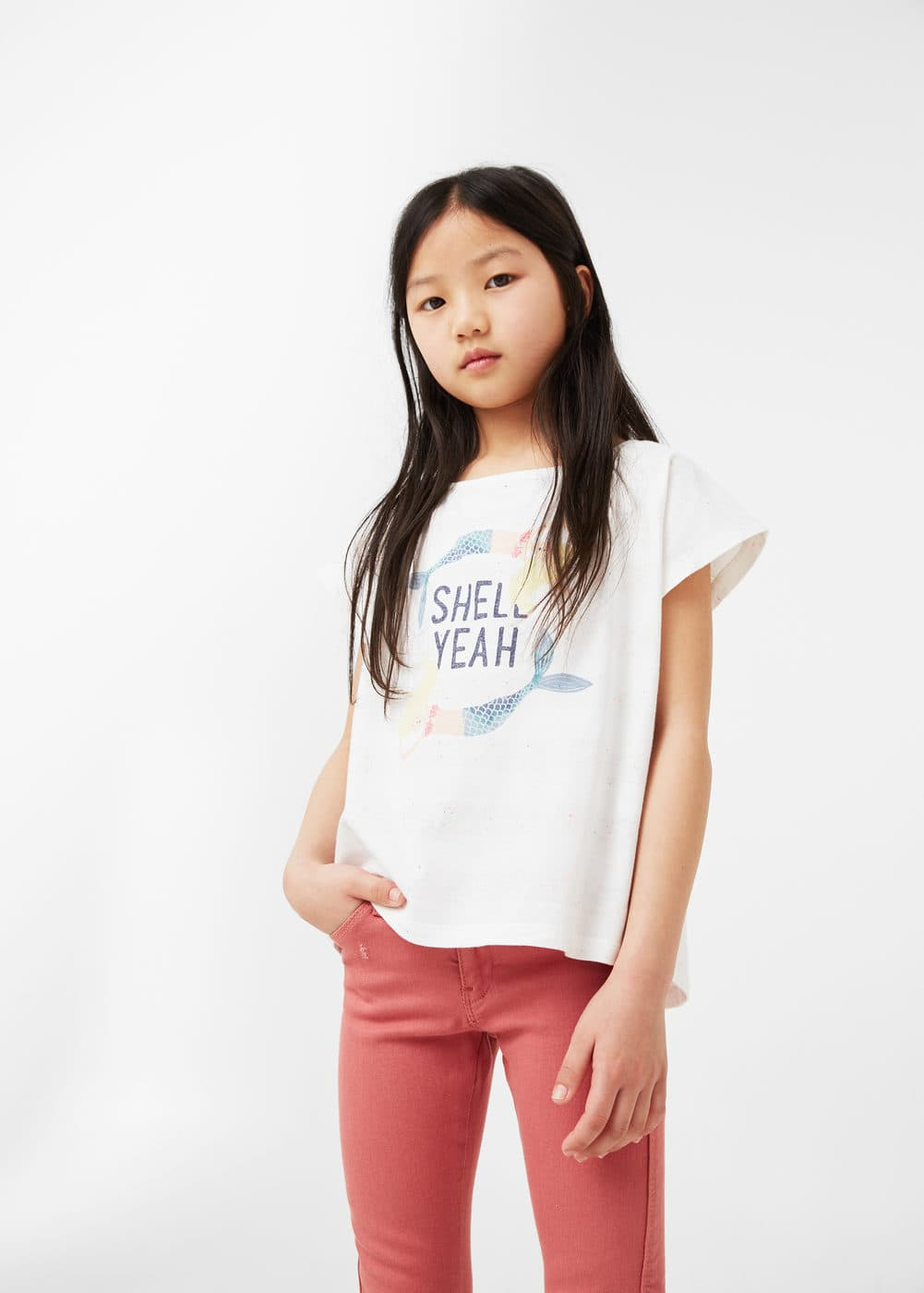Message flecked t-shirt | MANGO KIDS
