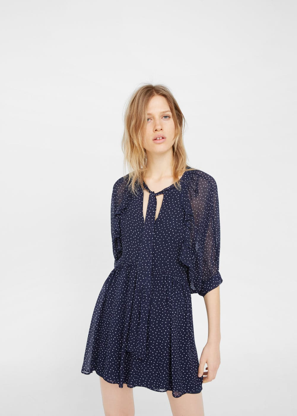 Polka-dot flared dress | MANGO